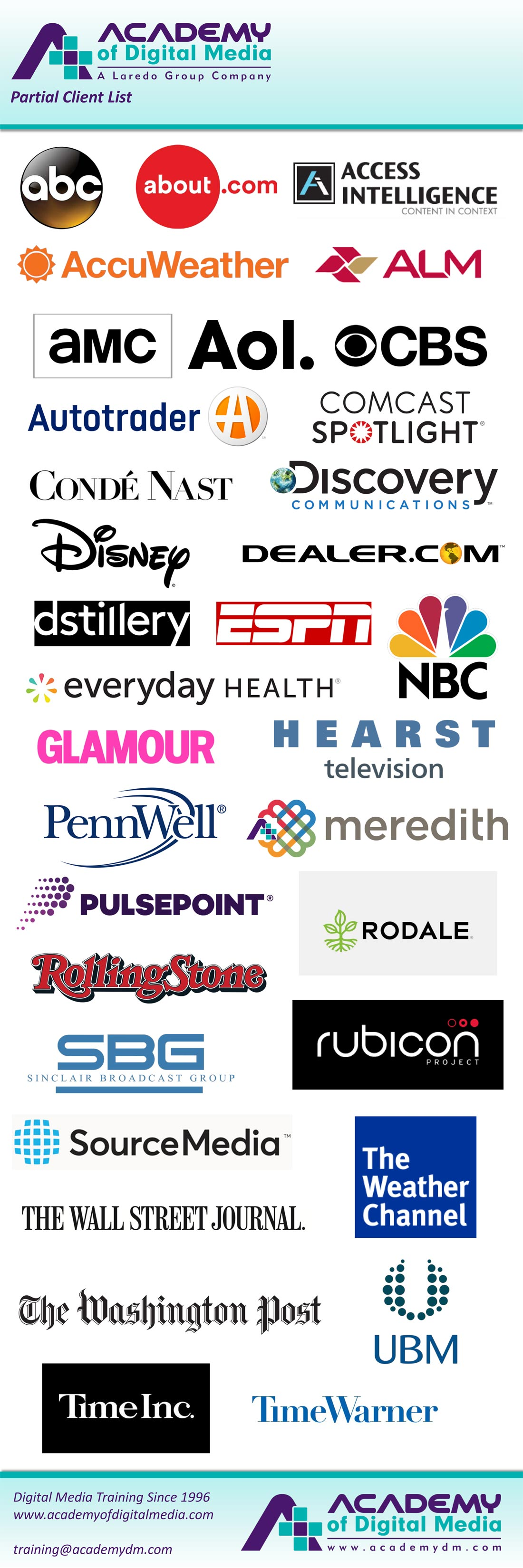 Academy of Digital Media partial client list